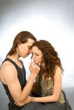 Sad harmony of love man and woman comforting. Sad girl is comforted by her boyfriend Royalty Free Stock Photography