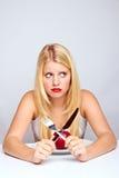 Sad healthy woman with apple Stock Image
