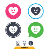 Sad heart face sign icon. Sadness symbol. Stock Photos