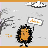 Sad hedgehog autumn, vector illustration Royalty Free Stock Photos