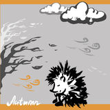 Sad hedgehog autumn, vector illustration Royalty Free Stock Images