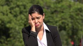 Sad Hispanic Business Woman. A pretty Colombian adult female stock video footage
