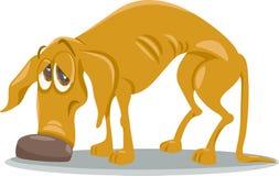 Sad homeless dog cartoon illustration Stock Photo