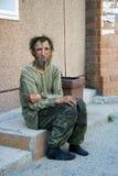 Sad homeless man