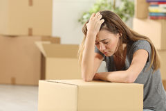 Sad homeowner moving home after eviction Stock Photography