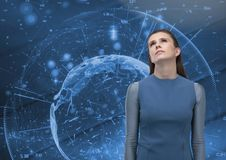 Sad hopeful woman against futuristic interface background royalty free stock photos