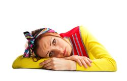Sad housewife  on white Royalty Free Stock Photos