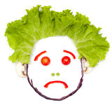 Sad human head made of vegetables Royalty Free Stock Photography