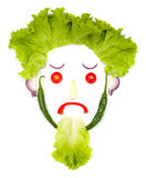 Sad human head made of vegetables Stock Images