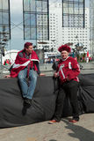 The sad ice hockey Latvian fans Royalty Free Stock Photo