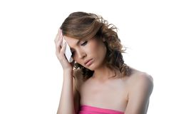 Sad ill young woman having headache Stock Photography
