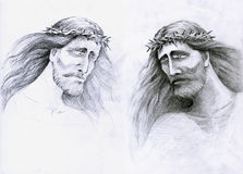 Sad Jesus Christ the Saver. Two different pictures of Jesus Christ. At the moment of drawing I had two type of pencils so I drawn, this two imagined pictures of royalty free illustration
