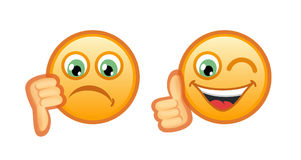 Sad and Joy Smileys. Isolated on white background. Vector Illustration for Content Evaluation Royalty Free Stock Images