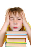 Sad Kid with a Books Royalty Free Stock Images