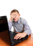 Sad Kid with Laptop stock images