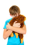 Sad Kid with Plush Toy Stock Photography
