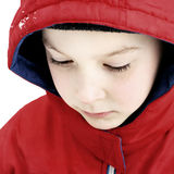 Sad Kid. Portrait of Sad Kid Face in the Winter Closeup Stock Photography