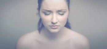 SAD kvinna arkivfoto