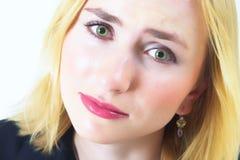 SAD kvinna för härliga ögon Royaltyfri Foto