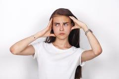 SAD kvinna f?r brunett fotografering för bildbyråer