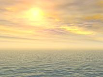 Sad Lemon Sunset Over Sea. Sad lemon sunset over empty sea Royalty Free Stock Photos