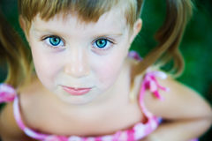 Sad liitle girl close-up Stock Image