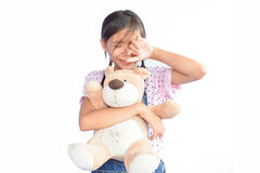 Sad little Asian girl crying on white Stock Photography