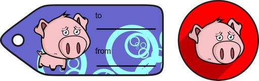 Sad little big head pig cartoon sticker card Royalty Free Stock Images