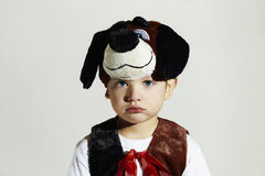 Sad little Boy in Carnival Dog Costume.Kids.Masquerade.Child Stock Image