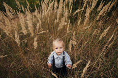 Sad little boy in high grass Royalty Free Stock Images