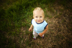 Sad little boy in high grass Stock Images