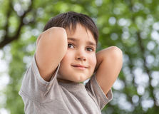Sad little boy looking at something Royalty Free Stock Images