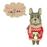 Sad little dog begging for cup of coffee Stock Images