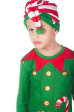 Sad little elf. Adorable sad little elf on isolated white royalty free stock photography