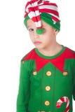 Sad little elf. Adorable sad little elf on isolated white Royalty Free Stock Photography
