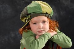 Sad Little Girl. Portrait of red-headed sad little girl Stock Images