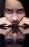 Sad little girl. Portrait of young girl with sad expression Stock Photography