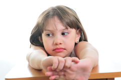 Sad little girl. Dreaming about something Royalty Free Stock Images