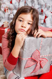 Sad little girl at Christmas Royalty Free Stock Images