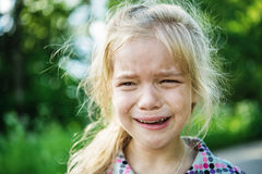 Sad little girl crying Stock Photography