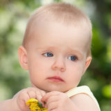 Sad little girl with a flower in the hands. Closeup Stock Photography