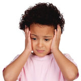 Sad little girl with head ache Royalty Free Stock Photography