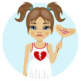 Sad little girl holding mask of happy face in her hand with broken heart on her dress Royalty Free Stock Images