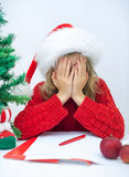 Sad little girl in red hat. Royalty Free Stock Photos