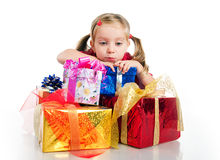 Sad little girl wih the presents Stock Photos