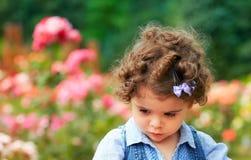 Sad little girle outdoor Stock Photos
