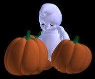 Sad little halloween ghost. 3d render of cute sad baby ghost in front of halloween pumpkins stock illustration