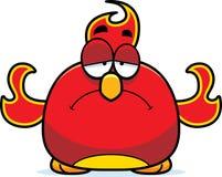 Sad Little Phoenix. A cartoon illustration of a phoenix bird looking sad Royalty Free Stock Images