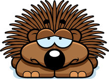 Sad Little Porcupine. A cartoon illustration of a little porcupine with a sad expression Stock Photo