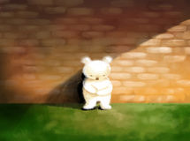 Sad, lonely abstract concept illustration white teddy bear stand Stock Images